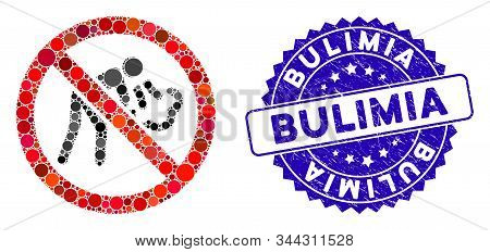 Mosaic No Vomit Icon And Grunge Stamp Seal With Bulimia Caption. Mosaic Vector Is Formed From No Vom