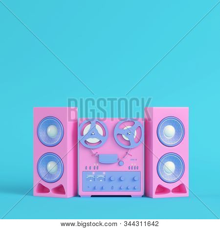 Reel To Reel Type Recorder On Bright Blue Background In Pastel Colors. Minimalism Concept. 3d Render