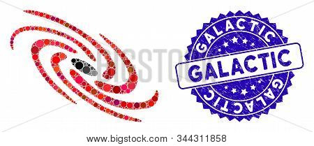 Collage Galactic Icon And Grunge Stamp Seal With Galactic Caption. Mosaic Vector Is Formed With Gala