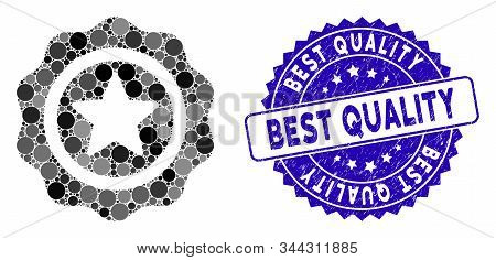 Mosaic Best Quality Icon And Rubber Stamp Seal With Best Quality Phrase. Mosaic Vector Is Composed W