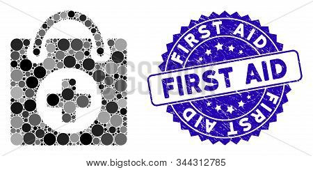 Mosaic First Aid Icon And Distressed Stamp Seal With First Aid Caption. Mosaic Vector Is Formed With