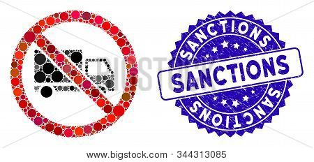 Mosaic No Cargo Delivery Icon And Corroded Stamp Seal With Sanctions Text. Mosaic Vector Is Created