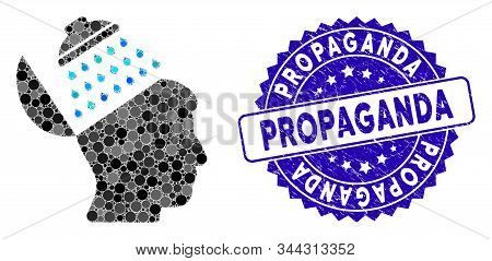 Collage Propaganda Brain Shower Icon And Rubber Stamp Seal With Propaganda Text. Mosaic Vector Is Cr