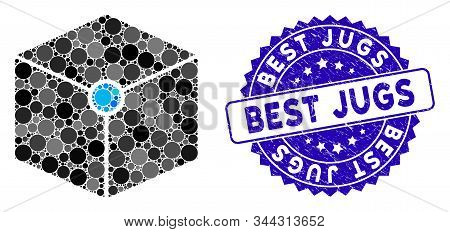 Mosaic Cube Vertex Icon And Grunge Stamp Seal With Best Jugs Phrase. Mosaic Vector Is Formed With Cu