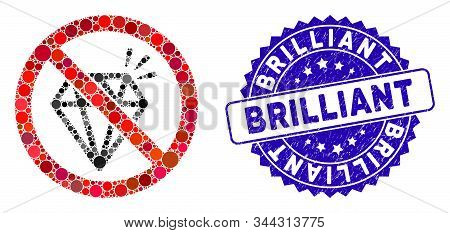 Mosaic No Brilliant Icon And Rubber Stamp Seal With Brilliant Text. Mosaic Vector Is Created With No