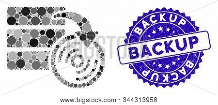 Mosaic Database Backup Icon And Rubber Stamp Seal With Backup Phrase. Mosaic Vector Is Formed With D