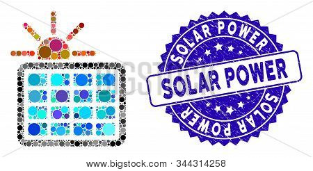 Mosaic Solar Power Icon And Rubber Stamp Seal With Solar Power Caption. Mosaic Vector Is Designed Wi