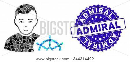 Mosaic Captain Icon And Grunge Stamp Watermark With Admiral Caption. Mosaic Vector Is Composed With
