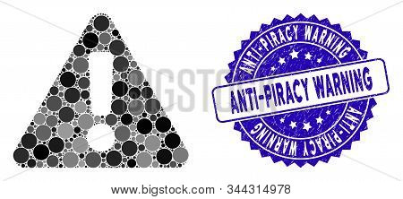 Mosaic Warning Icon And Distressed Stamp Watermark With Anti-piracy Warning Caption. Mosaic Vector I