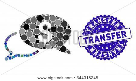 Mosaic Wire Transfer Icon And Distressed Stamp Watermark With Transfer Text. Mosaic Vector Is Compos