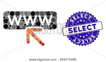 Collage Select Website Icon And Grunge Stamp Watermark With Select Text. Mosaic Vector Is Designed F
