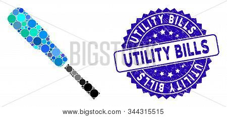 Mosaic Screwdriver Icon And Grunge Stamp Seal With Utility Bills Caption. Mosaic Vector Is Created F