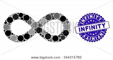 Collage Infinity Icon And Corroded Stamp Seal With Infinity Text. Mosaic Vector Is Designed With Inf