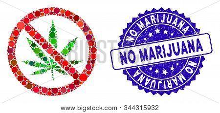 Mosaic No Marijuana Icon And Rubber Stamp Seal With No Marijuana Phrase. Mosaic Vector Is Created Wi
