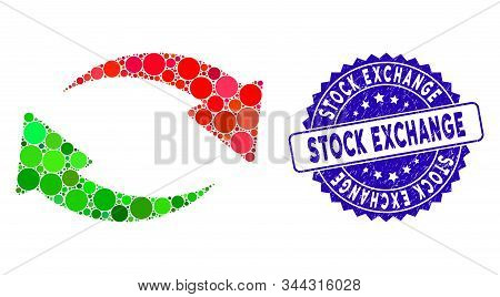 Mosaic Exchange Icon And Rubber Stamp Seal With Stock Exchange Caption. Mosaic Vector Is Composed Wi