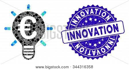Collage Euro Innovation Icon And Grunge Stamp Seal With Innovation Text. Mosaic Vector Is Composed F