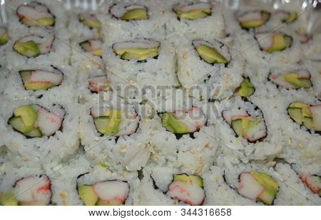 Platter Of California Rolls Sushi With Avocado And Crab