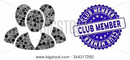 Mosaic Clients Icon And Distressed Stamp Watermark With Club Member Phrase. Mosaic Vector Is Created