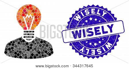 Mosaic Inventor Icon And Distressed Stamp Seal With Wisely Phrase. Mosaic Vector Is Created With Inv