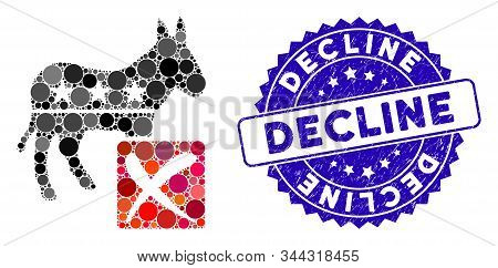 Collage Decline Democratic Icon And Corroded Stamp Seal With Decline Text. Mosaic Vector Is Composed