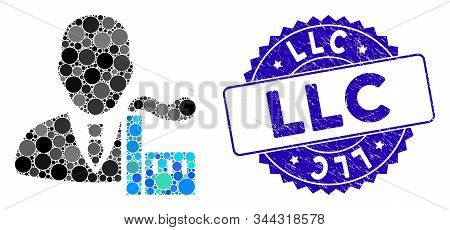 Mosaic Capitalist Oligarch Icon And Corroded Stamp Seal With Llc Text. Mosaic Vector Is Formed With