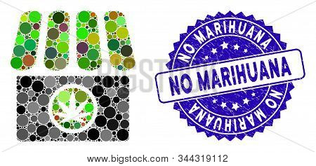 Mosaic Cannabis Shop Icon And Distressed Stamp Seal With No Marihuana Text. Mosaic Vector Is Designe
