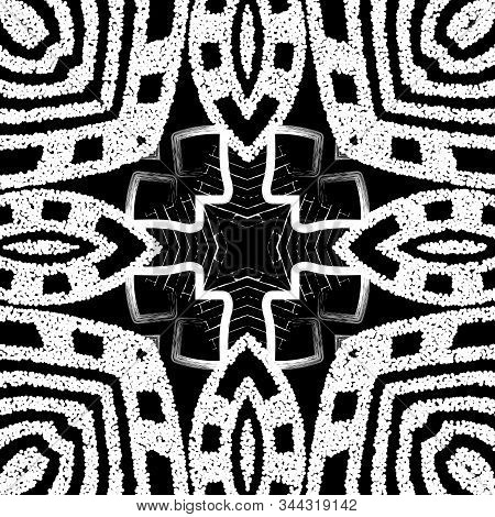 Textured Grunge Tribal Greek Vector Seamless Pattern. Black And White Geometric Dirty Background. Ro