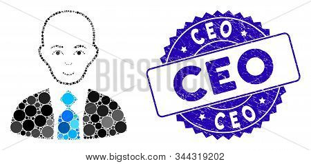Mosaic Bald Boss Icon And Distressed Stamp Seal With Ceo Caption. Mosaic Vector Is Formed With Bald