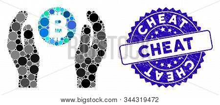 Mosaic Bitcoin Care Hands Icon And Rubber Stamp Seal With Cheat Caption. Mosaic Vector Is Designed W
