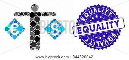 Mosaic Currency Trader Icon And Rubber Stamp Seal With Equality Text. Mosaic Vector Is Composed From