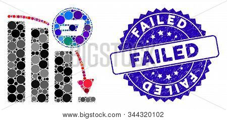 Mosaic Dashcoin Epic Fail Chart Icon And Distressed Stamp Seal With Failed Text. Mosaic Vector Is Cr