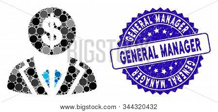 Mosaic Banker Icon And Rubber Stamp Seal With General Manager Phrase. Mosaic Vector Is Formed With B