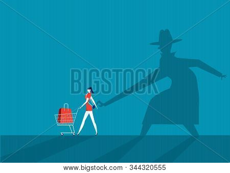 Shadow Man Pickpocket Steal Wallet From The Purse Vector