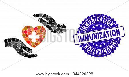 Mosaic Cardiology Care Hands Icon And Corroded Stamp Watermark With Immunization Phrase. Mosaic Vect