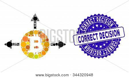 Mosaic Bitcoin Variant Directions Icon And Rubber Stamp Seal With Correct Decision Text. Mosaic Vect