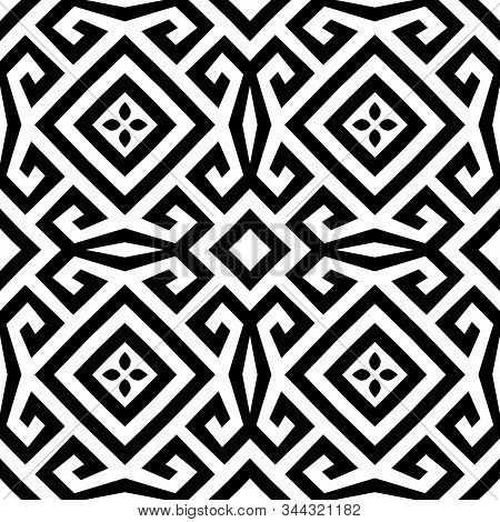 Beautiful Elegant Black And White Greek Vector Seamless Pattern. Geometric Abstract Tribal Backgroun