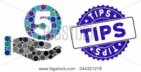 Mosaic Five Cents Payment Hand Icon And Rubber Stamp Seal With Tips Caption. Mosaic Vector Is Create