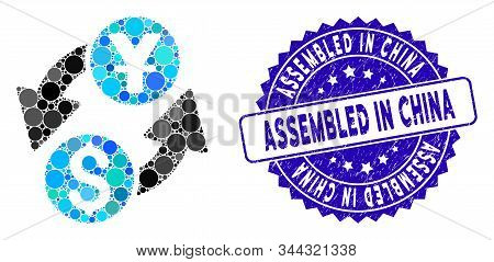Mosaic Dollar Yuan Exchange Icon And Corroded Stamp Seal With Assembled In China Text. Mosaic Vector