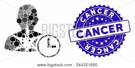 Mosaic Cancer Patient Time Icon And Corroded Stamp Seal With Cancer Phrase. Mosaic Vector Is Designe