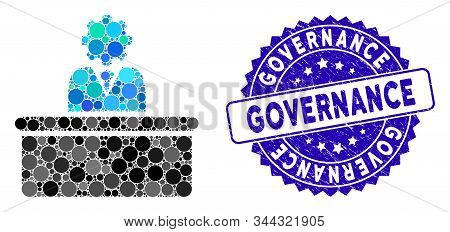 Mosaic Bureaucrat Icon And Rubber Stamp Watermark With Governance Text. Mosaic Vector Is Formed With