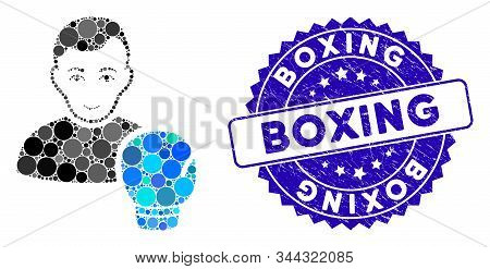Mosaic Boxing Sportsman Icon And Rubber Stamp Seal With Boxing Phrase. Mosaic Vector Is Created With