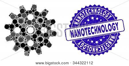 Mosaic Gearwheel Icon And Distressed Stamp Seal With Nanotechnology Caption. Mosaic Vector Is Formed