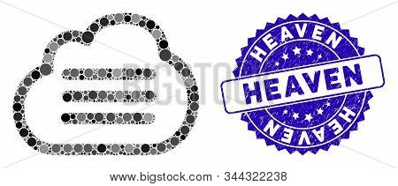 Mosaic Cloud File Icon And Corroded Stamp Seal With Heaven Caption. Mosaic Vector Is Designed With C