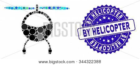 Collage Helicopter Icon And Grunge Stamp Watermark With By Helicopter Caption. Mosaic Vector Is Crea