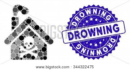 Mosaic Crematory Building Icon And Rubber Stamp Watermark With Drowning Text. Mosaic Vector Is Creat