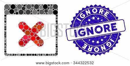 Collage Cancel Calendar Page Icon And Rubber Stamp Seal With Ignore Caption. Mosaic Vector Is Formed