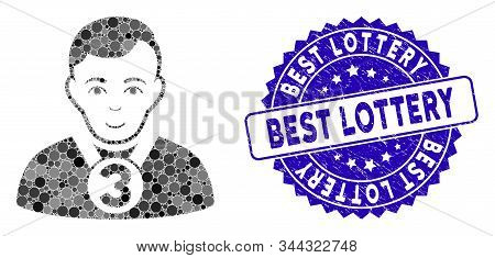 Mosaic 3rd Prizer Sportsman Icon And Grunge Stamp Seal With Best Lottery Phrase. Mosaic Vector Is Co