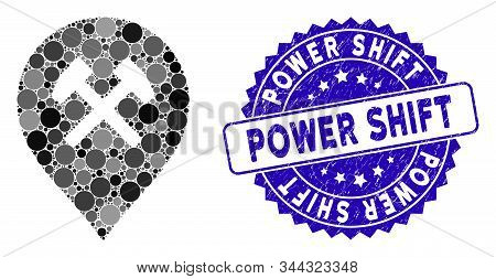 Collage Car Service Icon And Rubber Stamp Seal With Power Shift Caption. Mosaic Vector Is Composed W