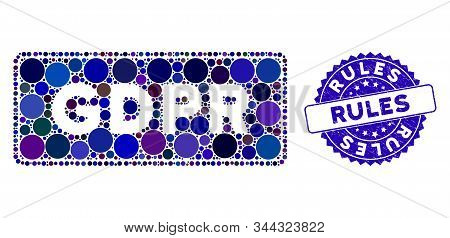 Mosaic Gdpr Rectangle Icon And Rubber Stamp Seal With Rules Caption. Mosaic Vector Is Created With G