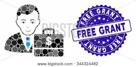 Mosaic Dollar Accounter Icon And Distressed Stamp Seal With Free Grant Phrase. Mosaic Vector Is Form